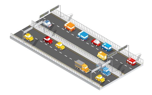 シティブルバードアイソメトリックアベニュー。輸送車、都市およびアスファルト、交通。公共の町の平らな次元の交差点