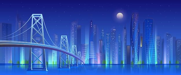 夜の街の橋、ネオンライトが高層ビルでモダンな未来的な街並みを照らしました