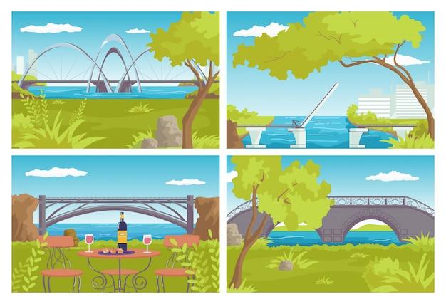 市橋セット、イラスト。建築、都市のランドマーク、川の水の上の道路工事。旅行、近代的な交通機関のシンボル。アーチ構造、要素。