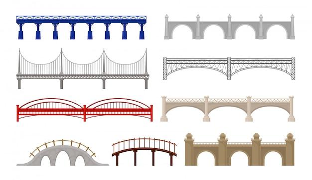 City bridges of different design on white background.