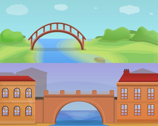 City bridges illustration set, cartoon style
