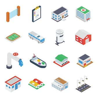 City building, accessories isometric
