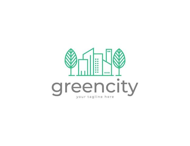 도시 건물과 신선한 나무 로고 디자인
