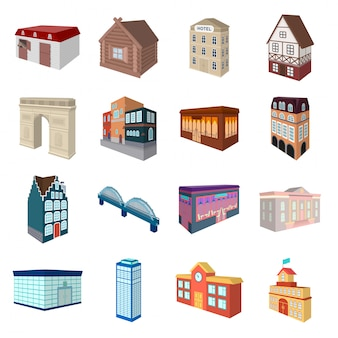 Городское здание мультфильм установить значок. дом и небоскреб. изолированное здание шаржа значка шаржа установленное.