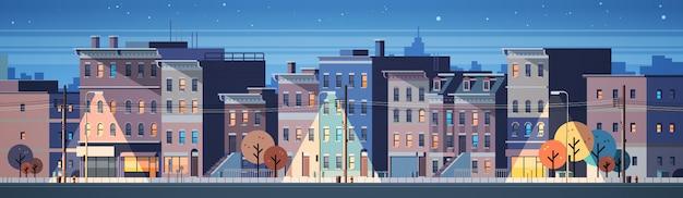 도시 건물 집 야경 스카이 라인 배너