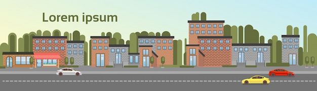 City building houses town view with car road background skyline copy space