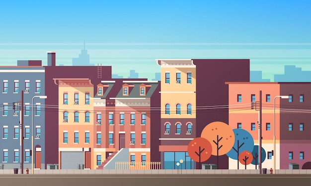 City building houses view skyline background