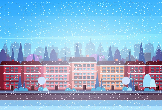 City building houses winter street cityscape background merry christmas happy new year
