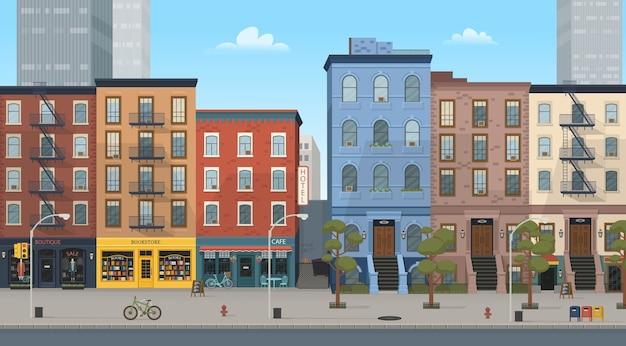 ブティック、カフェ、書店などのショップが建ち並ぶ住宅。スタイルのイラスト。ゲームやモバイルアプリケーションの背景。