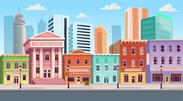 상점 카페 호텔 은행과 도시 건물 주택입니다. 평면 스타일 배경에서 벡터 일러스트 레이 션.