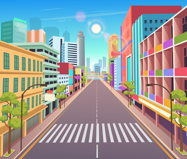 만화 스타일 도시 마천루 건물 보기에서 상점 벡터 일러스트와 함께 도시 건물 주택