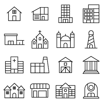 都市の建物のアイコンパック、アウトラインのアイコンスタイル Premiumベクター