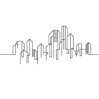 City building line art vector icon design illustration template