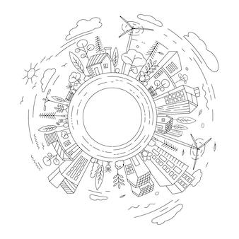도시 건물 라인 아트 벡터 아이콘 디자인 일러스트 템플릿