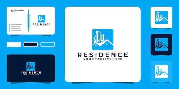 Вдохновение для дизайна логотипа городского строительства и визитной карточки