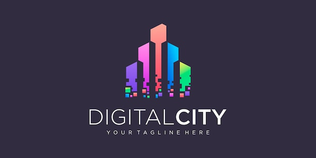 City building logo design with colorful and pixel style building abstract for logo design
