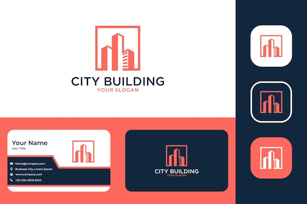 City building modern logo design and business card