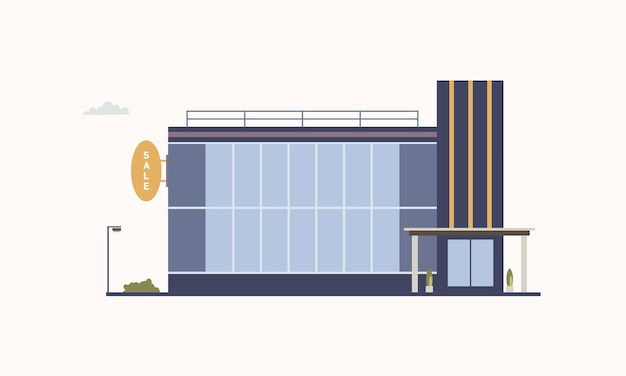 モダンな建築様式で建てられた、大きなパノラマの窓とガラスの玄関ドアを備えた貿易センターまたはショッピングモールの都市の建物。アウトレットストアまたはディスカウントショップ。カラフルなベクトルのイラスト。