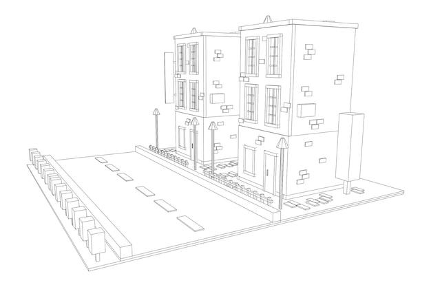 도시 건물 부동산 개념입니다. 와이어 프레임 낮은 폴리 메쉬 벡터 일러스트 레이 션