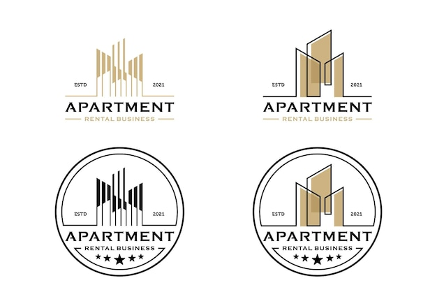City building real estate logo, business apartment design template