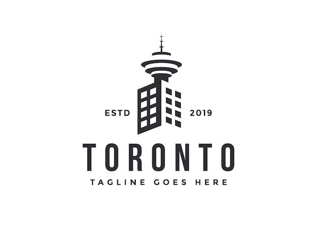 City building and toronto tower logo icon vector template on white background
