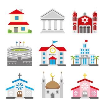 都市建築町の生息地の要素のイラスト
