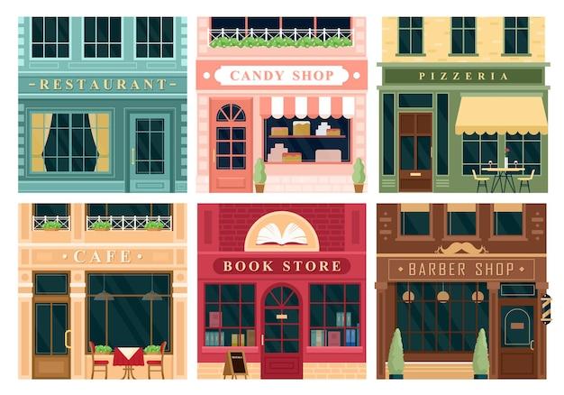 Городское здание винтажные фасады рестораны кондитерская пиццерия кафе книжный магазин парикмахерская