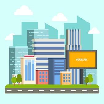 Городское здание с пустым рекламным щитом