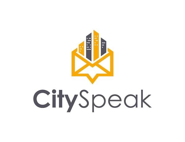 채팅 및 메일이 있는 도시 건물 단순하고 세련된 창의적 기하학적 현대적인 로고 디자인