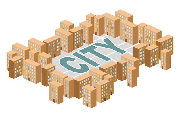 City building. yard among the houses. isometric building. slum district.