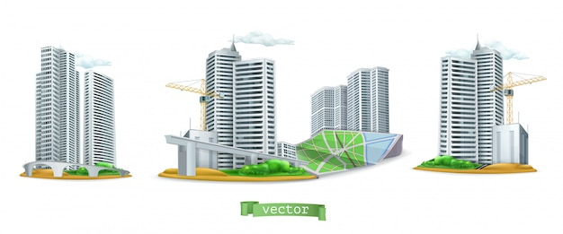 Город. набор 3d зданий