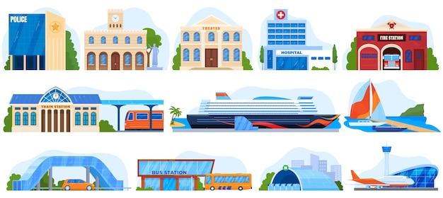 Городские здания, архитектура набор иллюстраций. социальные службы.