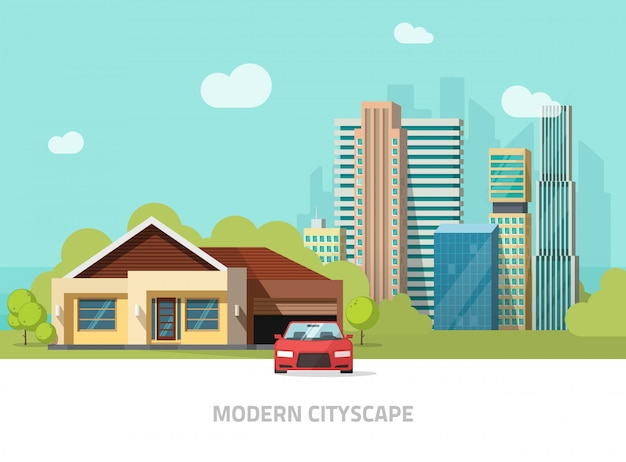 City buildings behind cottage home vector illustration or modern cityscape with skyscrapers flat style
