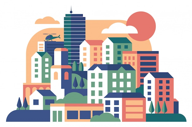 City buildings cute landscape flat  illustration
