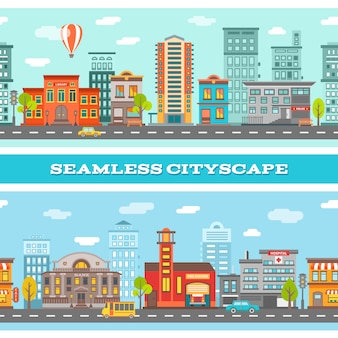 City buildings horizontal illustration