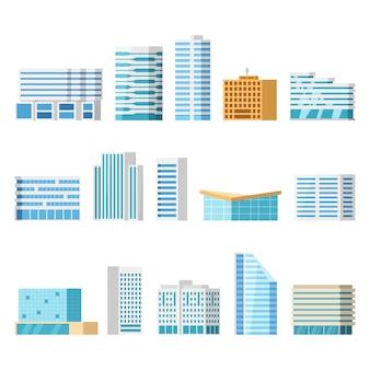 都市の建物、孤立した漫画セット