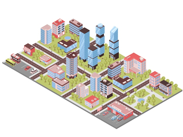City buildings isometric composition