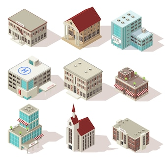 Набор изометрических иконок зданий города