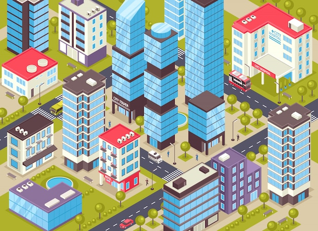 City buildings isometric illustration
