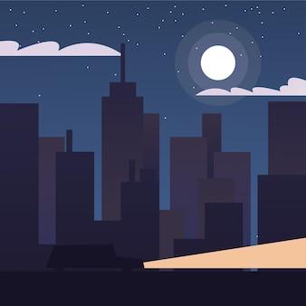 Городские здания пейзаж в ночном дизайне, абстрактная геометрическая архитектура и иллюстрация городской темы