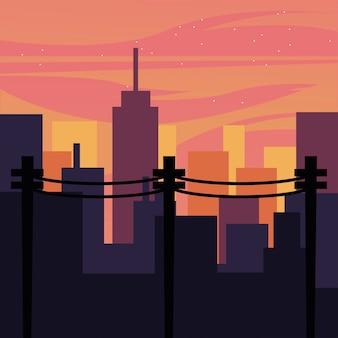 Пейзаж городских зданий с дизайном розового неба, абстрактная геометрическая архитектура и иллюстрация городской темы