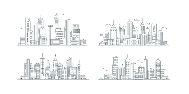 City buildings linear icons set skyscrapers urban street with various structures thin line contour