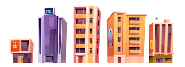 City buildings, modern houses architecture set