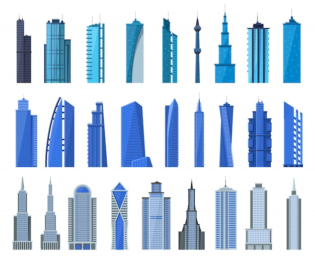 City buildings. modern office building exterior, business city skyscrapers, architecture cityscape tall houses  illustration icons set. skyscraper office building, tall exterior construction
