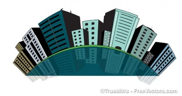 City buildings push pins
