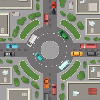 City buildings, roads and cars top view illustration
