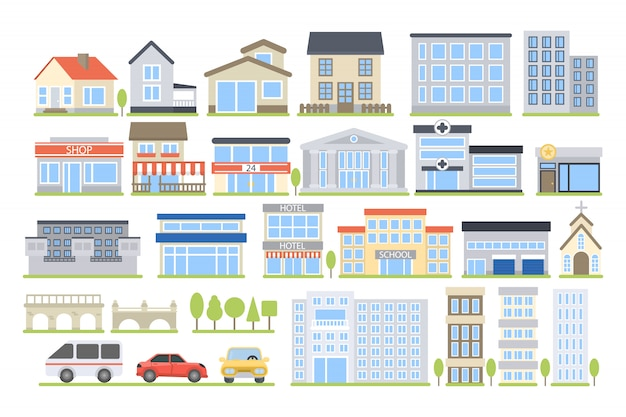 City buildings set. hospital and school, store and house.