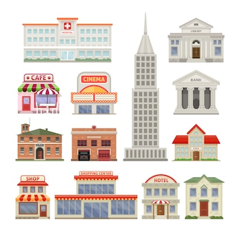 City buildings set with administrative and residential constructions hotel cafe and cinema isolated vector illustration