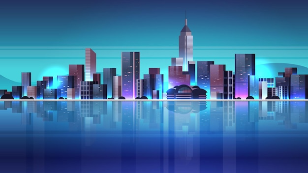 City buildings skyline at night illustration
