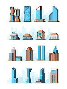 都市の建物。超高層ビル街の食料品の村の構造2d低ポリゲームの建物